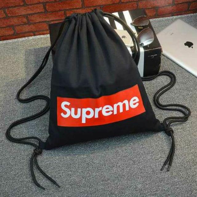 黑色 supreme 包包帆布包休閒潮包 街頭潮流抽繩束口袋包雙肩背包肩背包後背包書包束口
