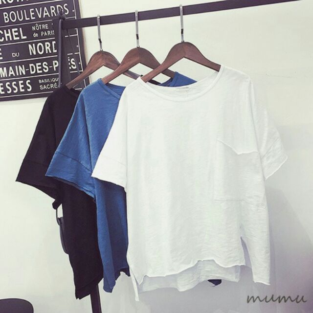三色任兩件450 寬鬆修飾簡約純色竹節棉寬鬆前短後長開岔圓領短袖T 恤