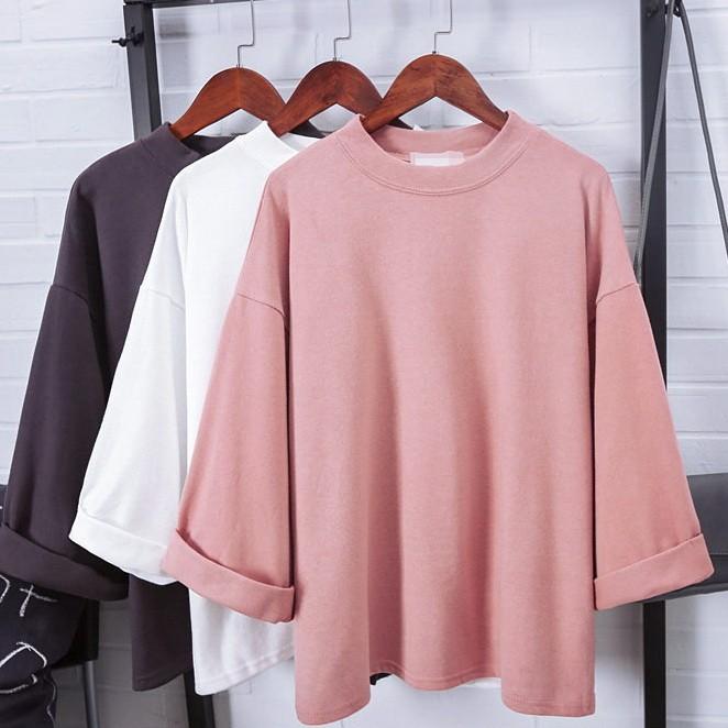 純色半高領T 恤百搭六分袖薄款上衣k05 6216 af 2