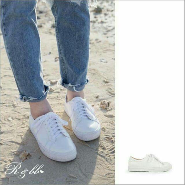 ❇超 ❇~真皮休閒鞋R BB 牛皮製~微厚底隨性簡約綁帶小白鞋~
