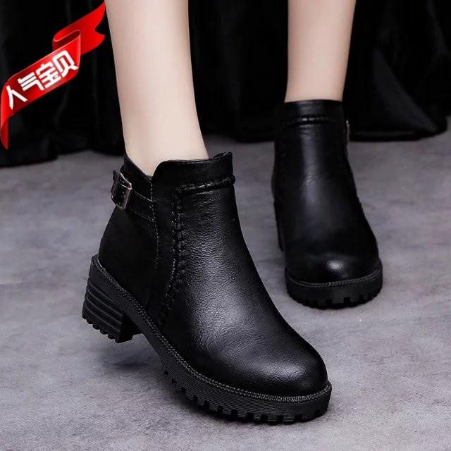 2016  粗跟防水臺圓頭中跟短靴女 馬丁靴高跟女鞋潮