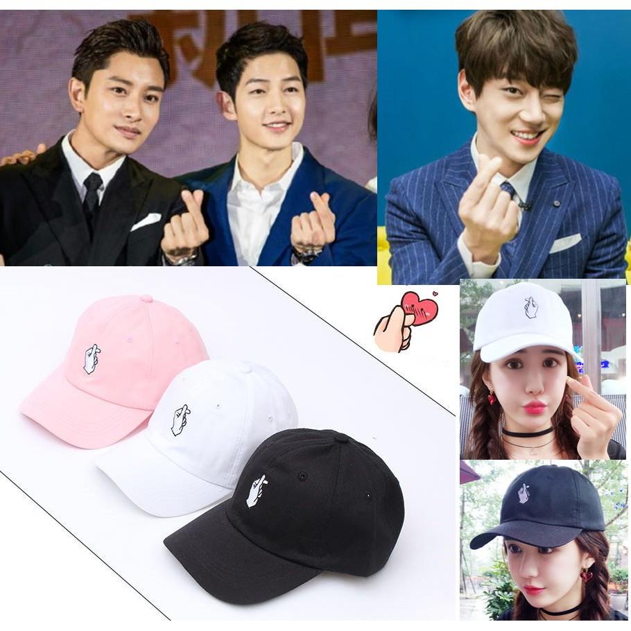 韓國BIGBANG 黃致列宋仲基應援專屬帽愛心手指原宿鴨舌帽老帽情侶帽太陽的後裔遮陽帽