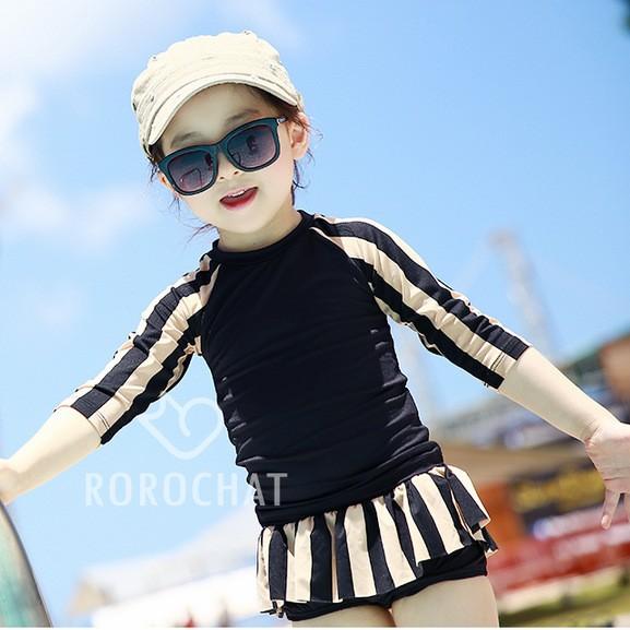 兒童泳衣女童中大童長袖條紋防曬 分體游泳裝