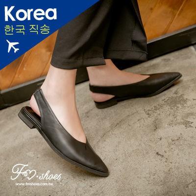 韓簡約俐落尖頭前包紳士涼鞋14050365
