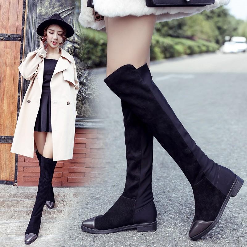 ~風雅軒~過膝長靴女靴子SW5050 平底長筒靴高筒靴 過膝靴瘦腿彈力靴