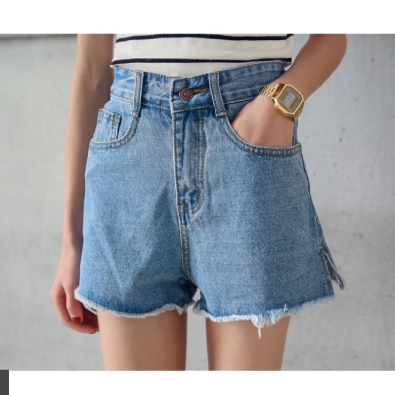 超實穿抽鬚小開岔高腰顯瘦牛仔短褲