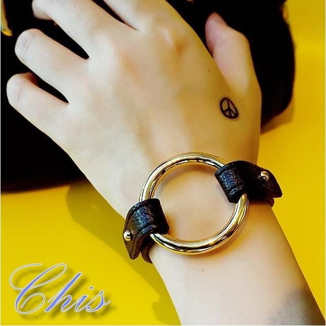 Chis Store ~金屬圓形 手環~韓國 黑皮革皮質 圓圈圈圓環 金屬風手鍊手鐲