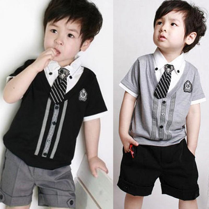 FINEJO 男孩短袖西裝紳士T SHIRT 短褲領帶套裝
