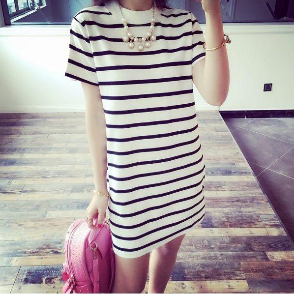 E302 A 女裝條紋圓領中長款連衣裙打底衫條紋短袖t 恤女修身包臀