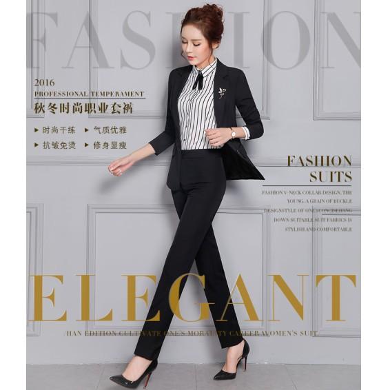 H07 職業裝女士套裝氣質修身條紋三件套OL 商務顯瘦西裝全套黑藍西服黑藍西褲條紋襯衫60