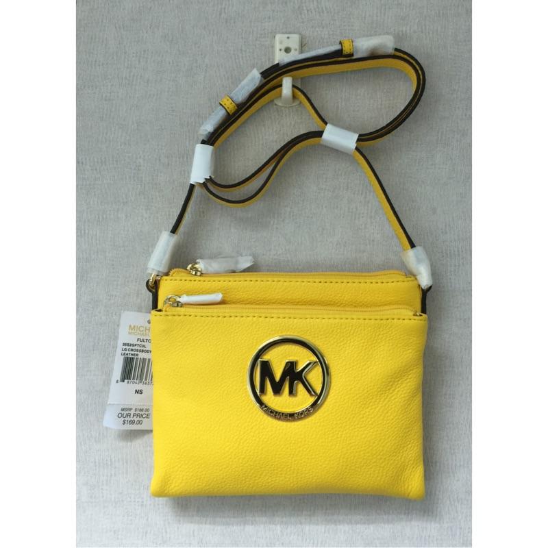 MICHAEL KORS 35S2GFTC3L MK Logo 黃色荔枝皮革多 性斜背包