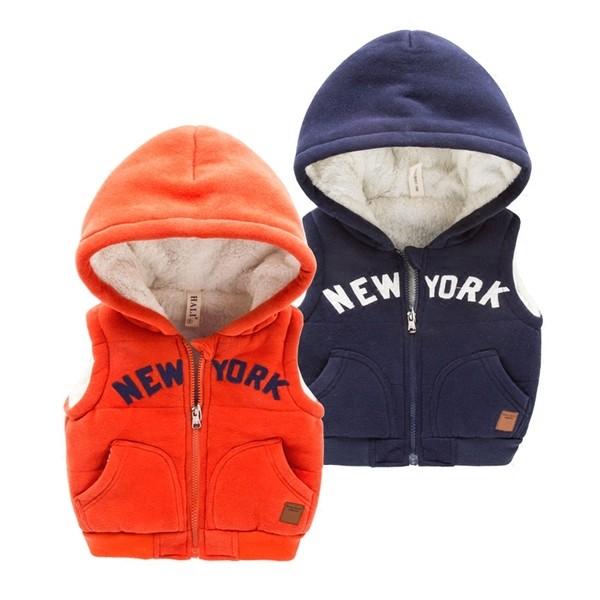 ❤Happy Mall ❤男童加絨加厚連帽背心2016 冬裝 男童男寶寶字母背心外套2 色
