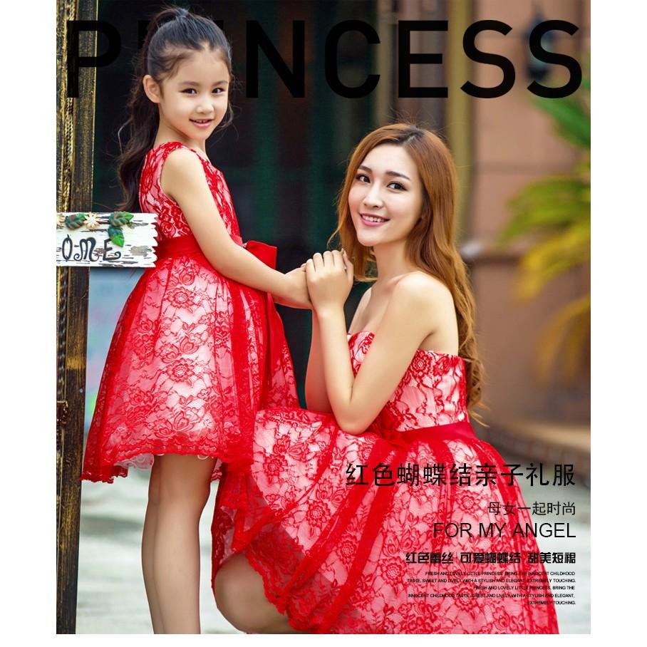 2016 親子裝宴會母女生日聚會蓬蓬短裙婚禮伴娘服紅色蕾絲晚禮服