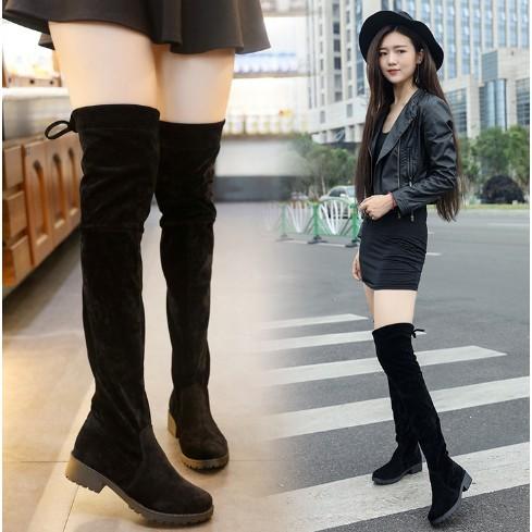 鞦鼕季過膝長靴女瘦腿彈力靴顯瘦平底女靴高筒長筒靴子過膝靴