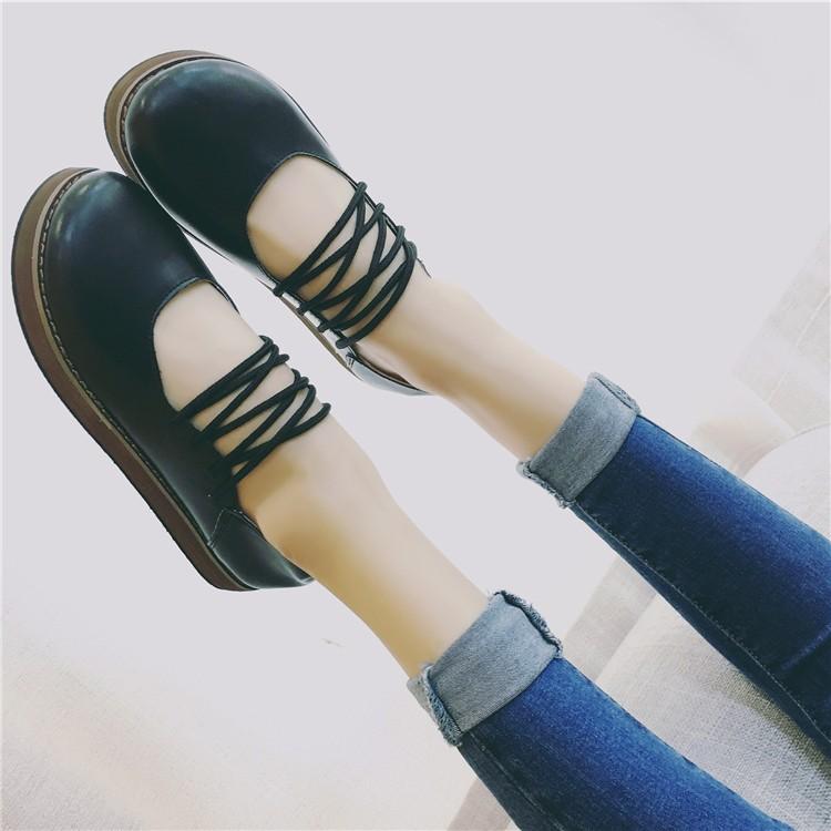 英倫復古小皮鞋 女學生平底圓頭樂福松糕底單鞋子百搭潮女鞋女靴短靴長靴休閒鞋馬丁靴中筒靴英倫
