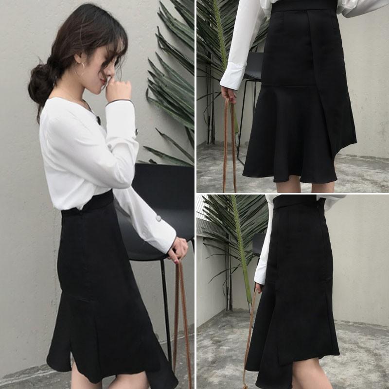 不對稱高腰顯瘦包臀魚尾裙半身裙女不規則半身中長裙女春