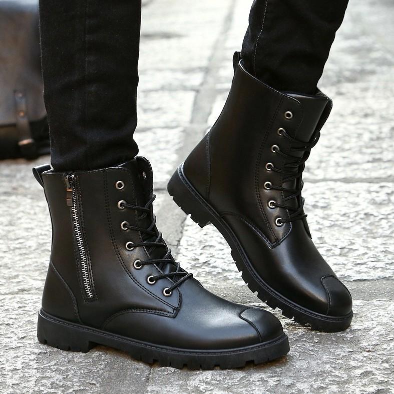 韓國 100 實拍馬丁靴英倫鞋秋 男士馬丁靴男短靴 潮流男靴子保暖工裝靴復古高幫皮靴子