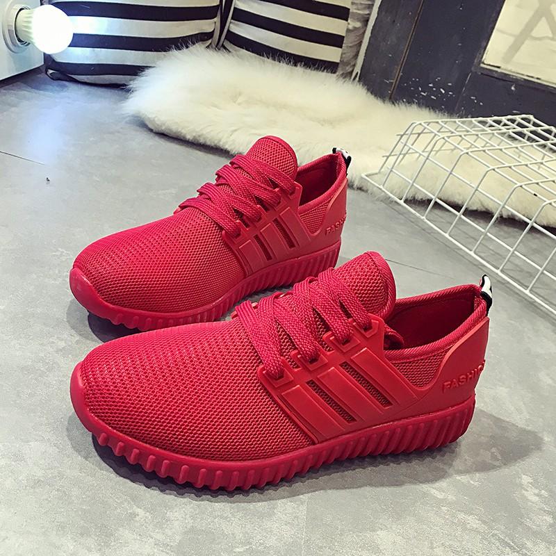 三條杠爆米花紅色椰子紅爆款鞋 跑步網布透氣系帶 鞋