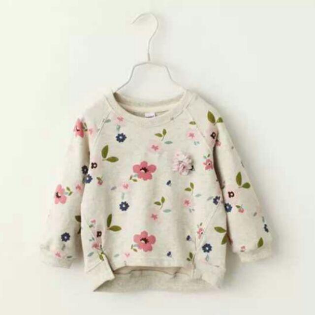 ~秋裝報到~秋裝  女童薄T 清新花朵圓領兒童寶寶上衣