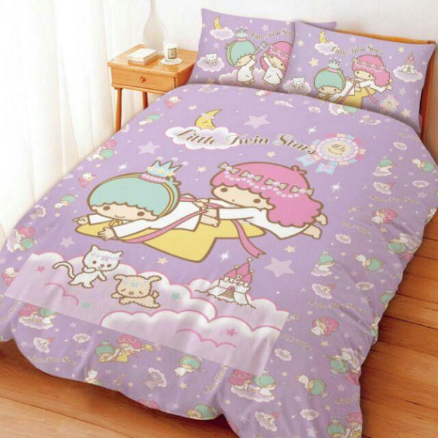 雙子星座單人床包雙人床包紫色舖棉兩用被套
