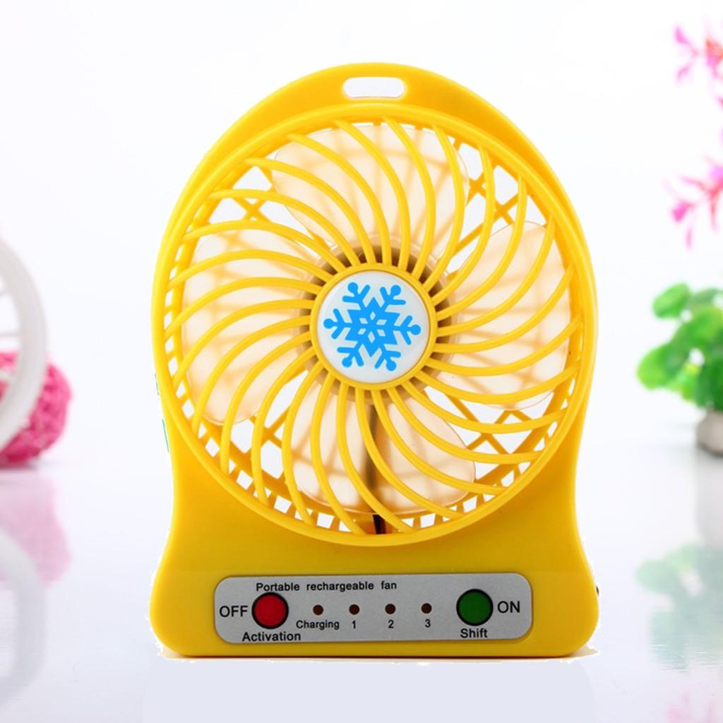 雪花扇F95B USB 迷你充電風扇淘氣黃攜帶型芭蕉扇特別版含充電電池LED 照明靜音消暑
