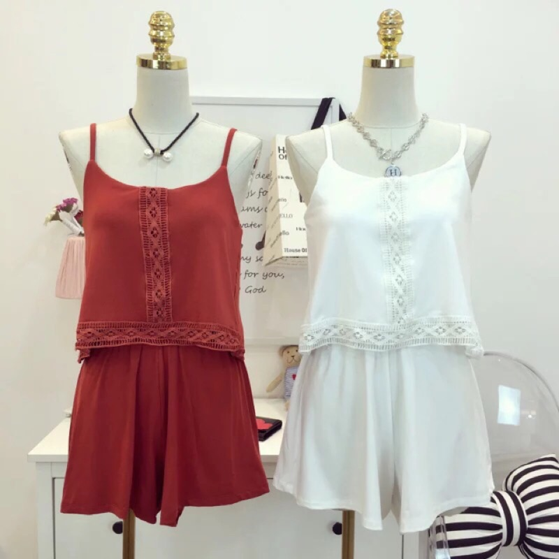 波希米亞細肩連身短褲3 色休閒懶人度假修身顯白 款紅色刺繡民俗風高腰褲裙