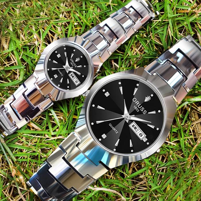 唯品悅聚瑞士 手表雙日歷 防水精鋼男士全自動機械表夜光超薄情侶表