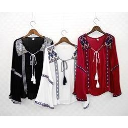 韓國同款 民俗風刺繡綁帶流蘇上衣 ! 出貨