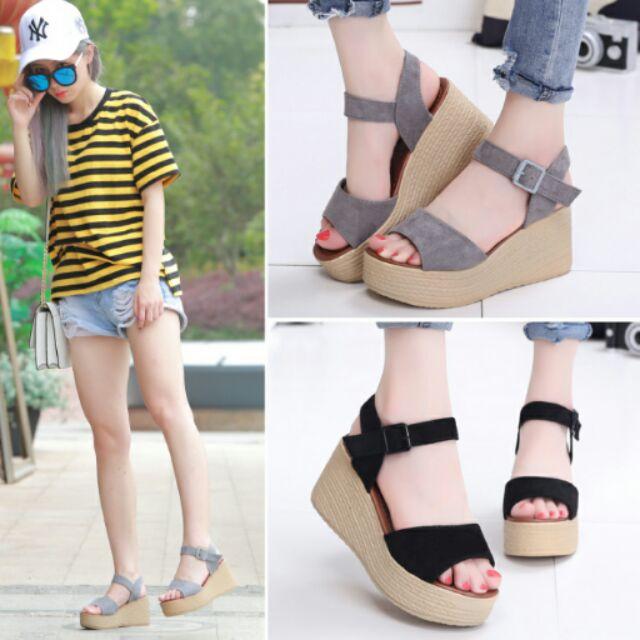 坡跟涼鞋女夏2016 平底女士鞋子韓國高跟鞋中跟厚底鬆糕女鞋潮