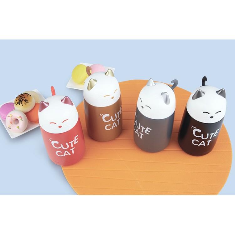 韓國貓咪保溫杯招財貓保溫杯可愛 貓咪水杯水瓶男女情侶水杯杯子隨身杯