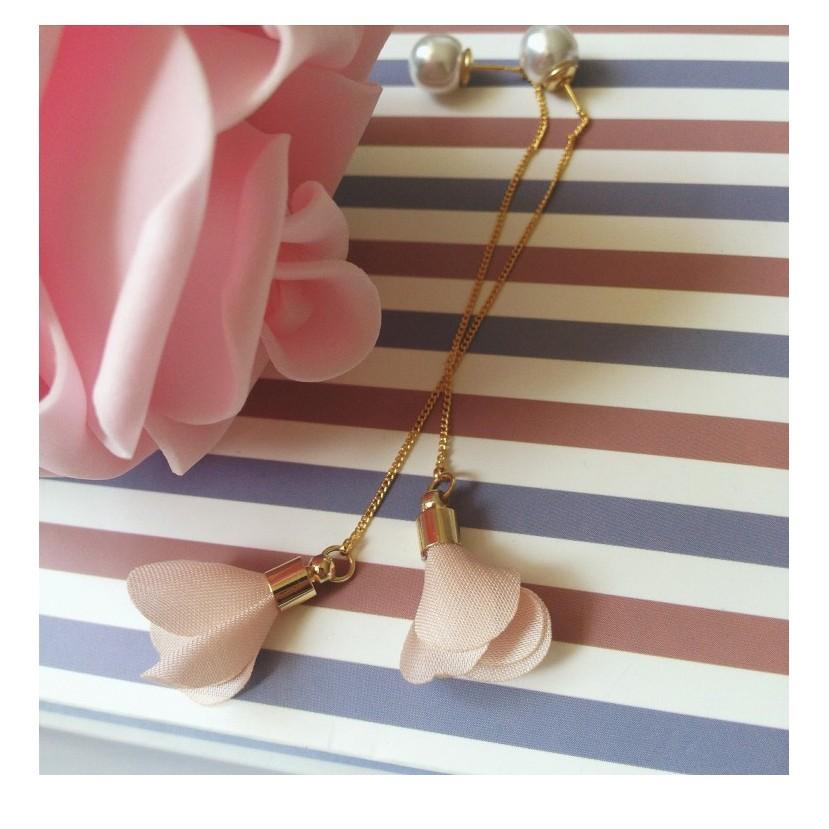 鍍真金日韓國珍珠長款花朵耳線耳釘