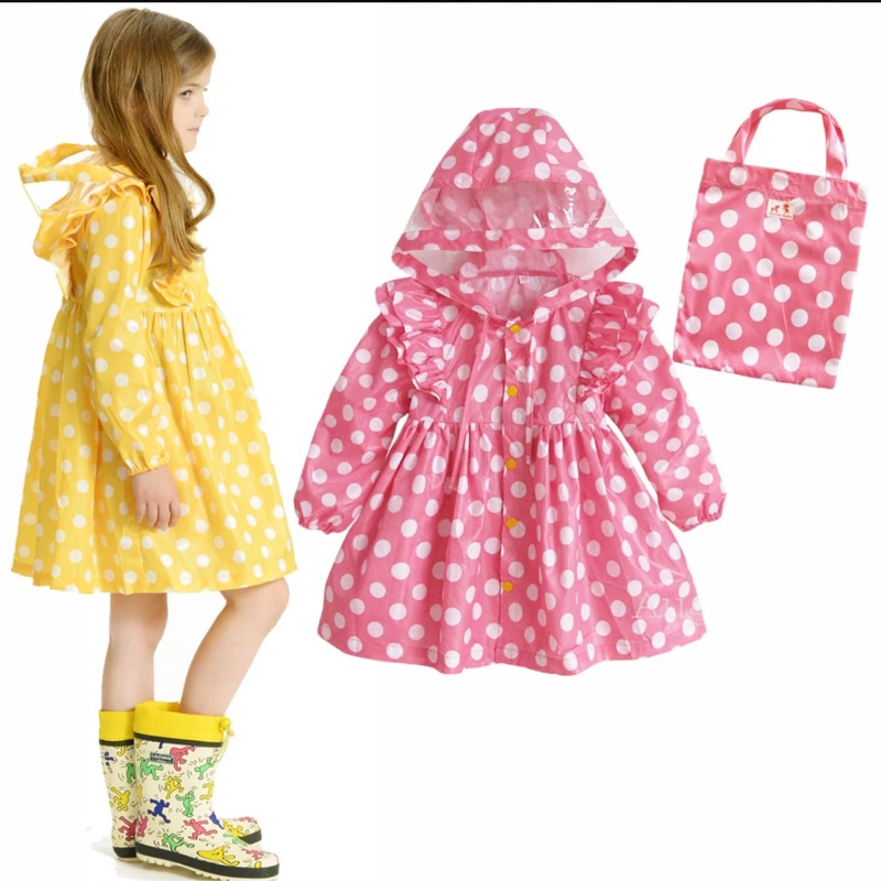( )韓風 白色圓點雨衣、 閃亮星星雨衣附收納袋女童雨衣