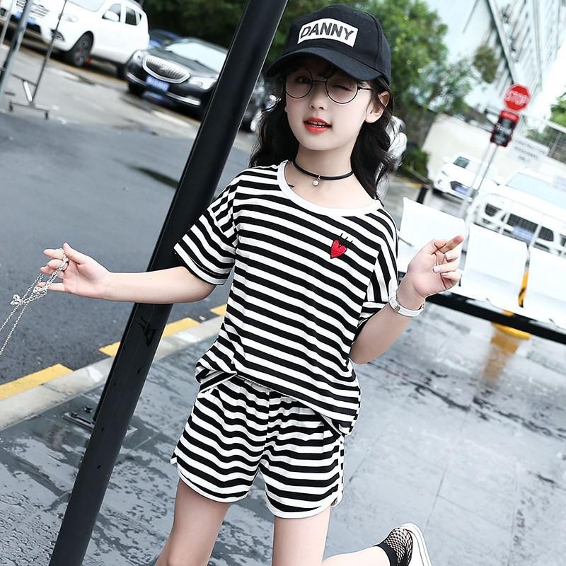 MVG5853 新夏裝潮範女中大童條紋短袖T 純棉短褲兩件套裝