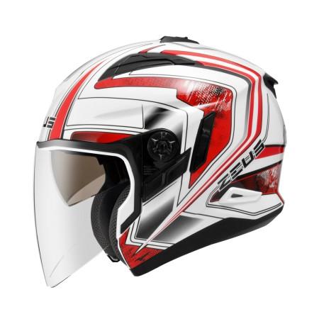 ZEUS ZS 613B 白AJ6 紅~ 內藏式遮陽鏡片機構,操作方便、可保持良好視線~