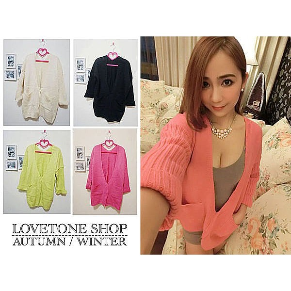 lovetone shop ~B10002 ~ 針織大V 領口袋反折袖口罩衫毛衣黃米黑色