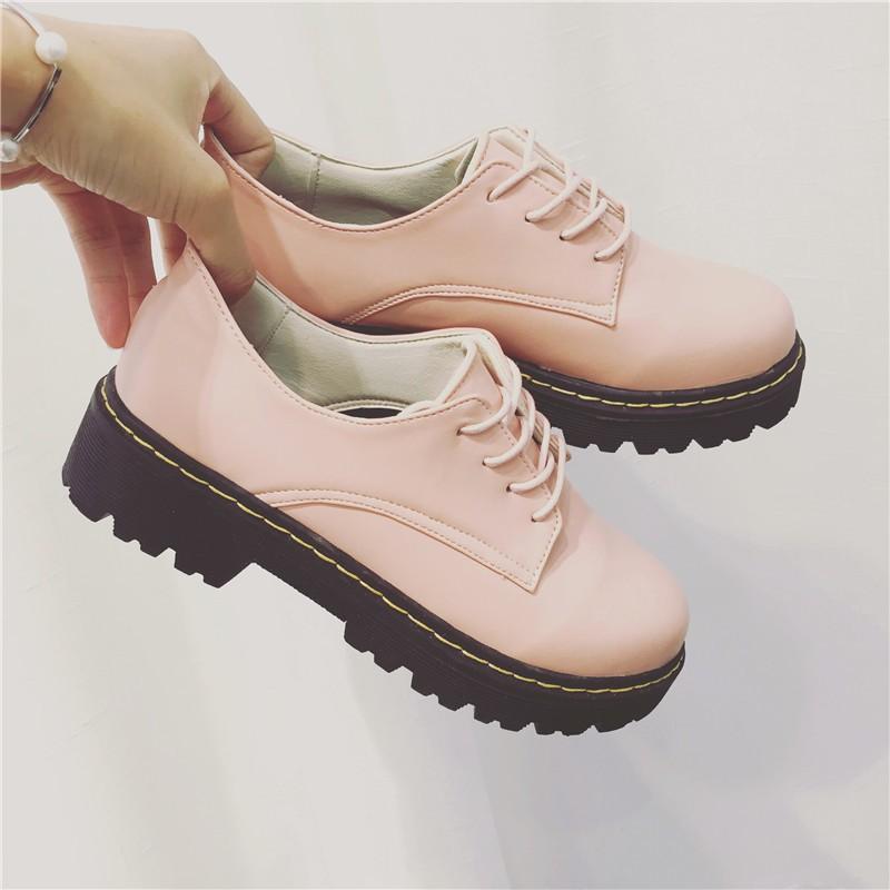 韓國范2016 早春松糕底 低幫小皮鞋英倫復古圓頭系帶女鞋純色系帶單鞋