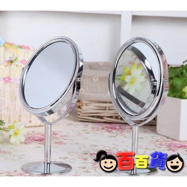 ~百 ~~立式雙面桌鏡橢圓形鏡面1 2 放大 銀色~立式雙面桌鏡  鏡子A1013_001