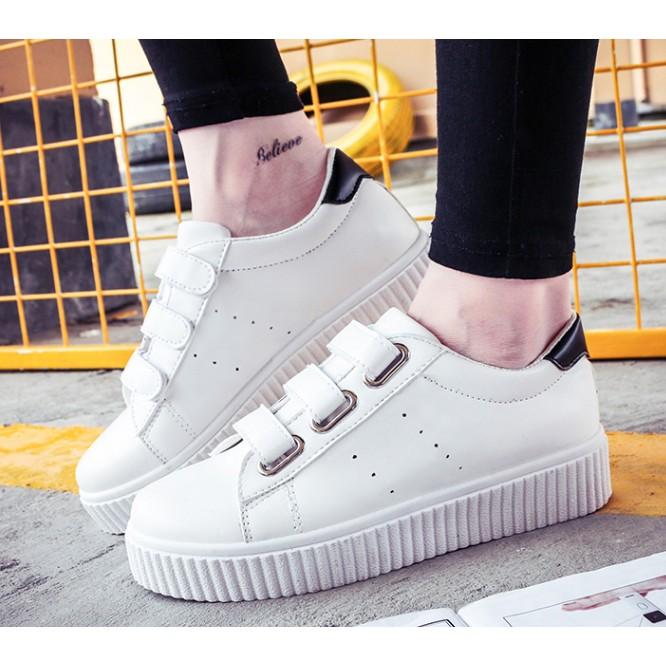 N 036 極簡百搭休閒魔術貼厚底小白鞋3 色