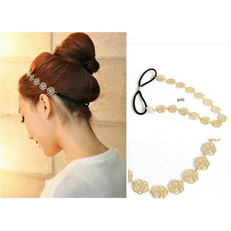 ~MALUCO ~韓式優雅氣質合金縷空玫瑰 髮帶髮圈髮箍髮束髮繩髮飾頭飾飾品 直購150