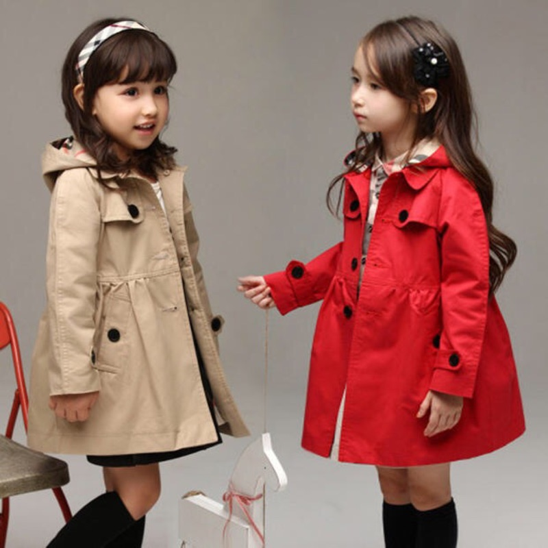 女中大童英倫風夾棉加厚連帽風衣外套