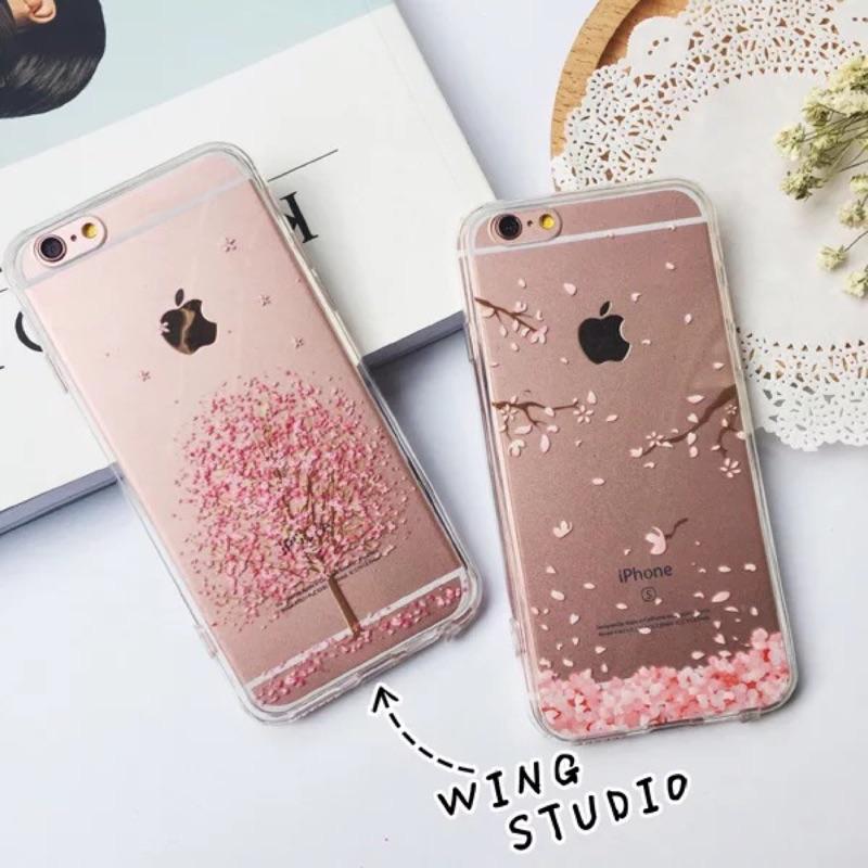 粉色櫻花iphone6s 手機殼硅膠蘋果6plus 保護套透明殼6s 軟邊外殼