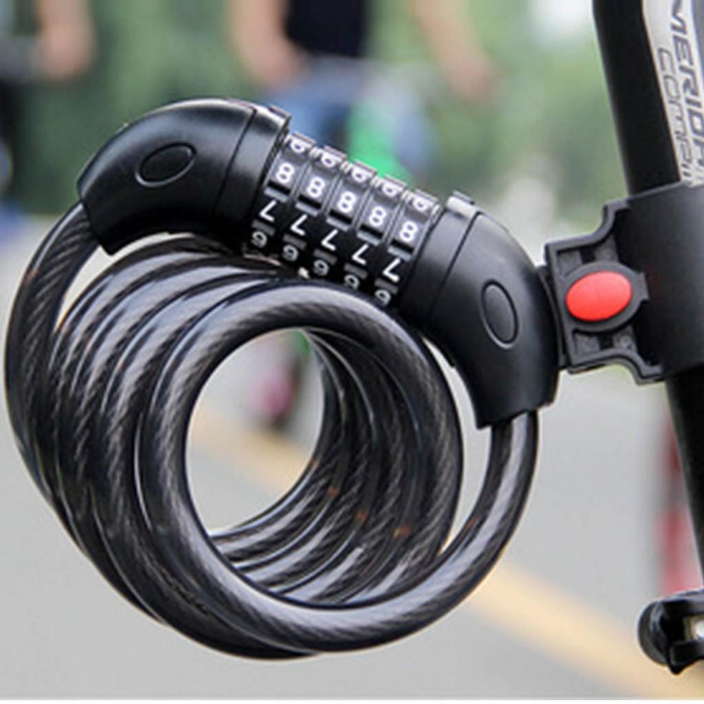 安全!自行車5 位數密碼鋼絲纜鎖帶支架腳踏車鎖單車鎖黑色