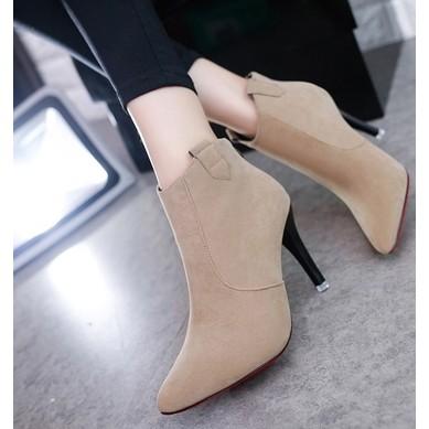 ~藝訪依閣~ 磨砂裸色高跟鞋短靴女春秋單靴尖頭馬丁靴裸靴女靴細跟靴子