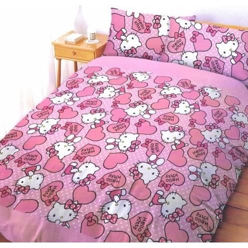 ~浪漫小屋~~粉紅佳人HELLO KITTY ~雙人床包枕套三件式5 6 2  KITTY