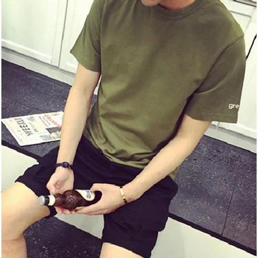 夏裝男士t 恤圓領純白短袖體恤 修身衣服寬鬆男裝純色打底衫