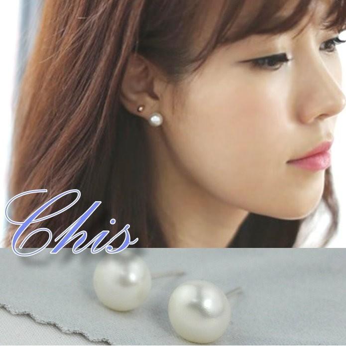 Chis Store ~ 珍珠純銀耳針~韓國925 純銀精緻珠珠豆豆珍珠耳環耳棒耳扣太陽的