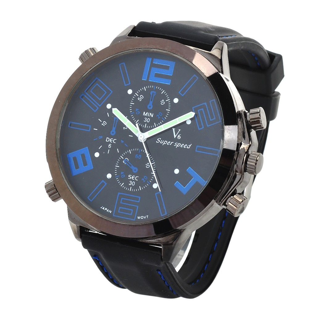 Super Speed 超大盤假三眼黑藍男士石英手錶黑色藍色