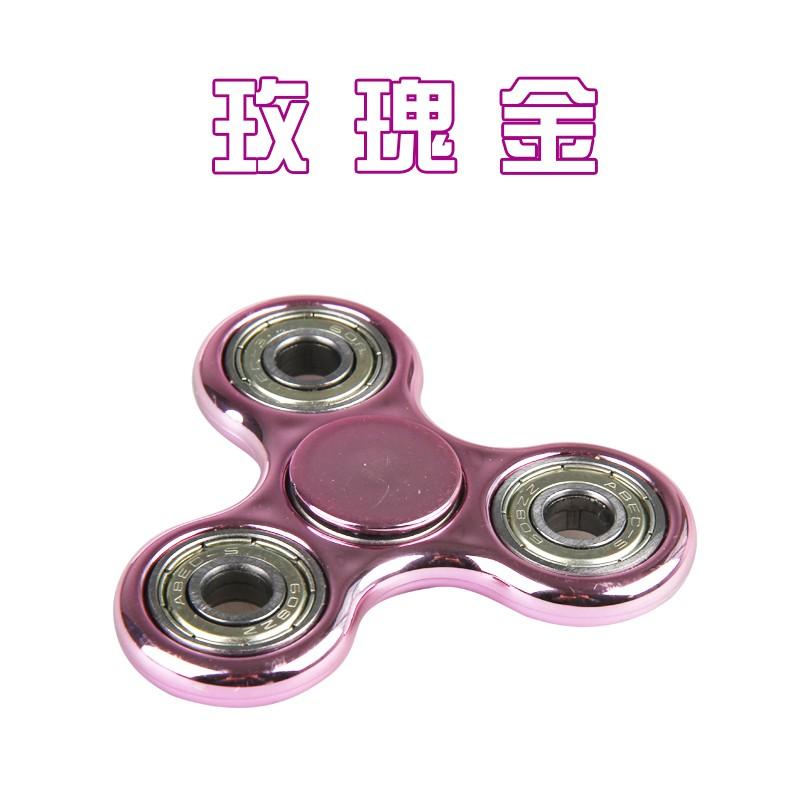光亮款指尖陀螺軸承edc 三角指間螺旋包裝手指解壓益智玩具玫瑰金
