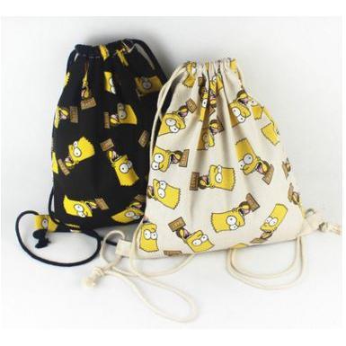 ~ ~辛普森家庭帆布雙肩束口袋抽繩背包束口後背包書包霸子辛普森背包可裝A4 書