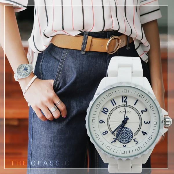 真陶瓷中性對錶LONGBO 龍波立體 錶緣波紋錶盤純白簡約風贈 盒~匠子工坊~~UT013